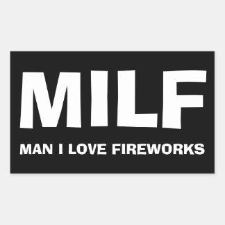 MILF - MAN I LOVE FIREWORKS RECHTECKIGER AUFKLEBER