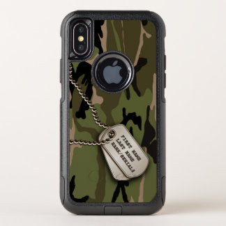 Militärische grüne Camouflage mit Hundeplakette OtterBox Commuter iPhone X Hülle
