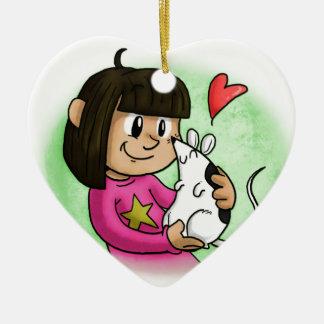Millie und kleiner Kuchen Keramik Herz-Ornament
