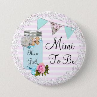 Mimi, zum blaues Weckglas-rustikaler Knopf zu sein Runder Button 7,6 Cm