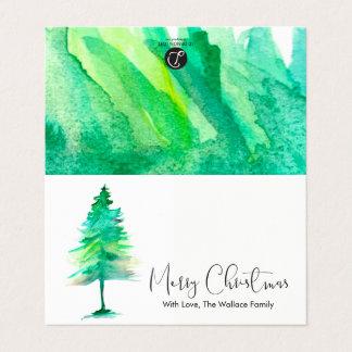 MINI - frohe Weihnachten, Aquarell Pinetree, Karte