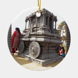Miniaturstatuesteinhandwerkstempel von Indien Rundes Keramik Ornament