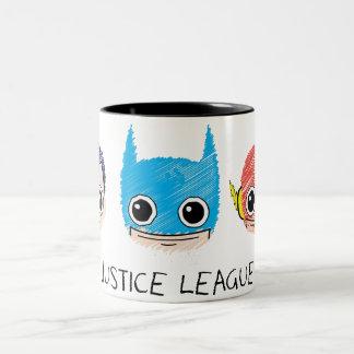 Minigerechtigkeits-Liga geht Skizze voran Zweifarbige Tasse