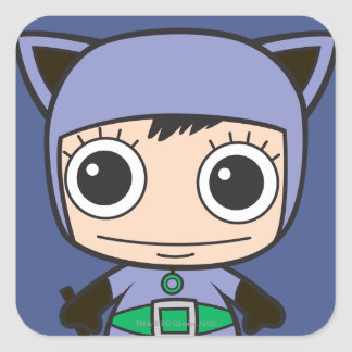 Minikatzen-Frau Quadratischer Aufkleber