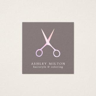 Minimale elegante graue Rose Scissors Quadratische Visitenkarte