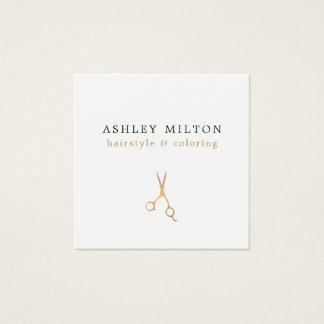 Minimales elegantes Imitat-Gold Scissors Quadratische Visitenkarte