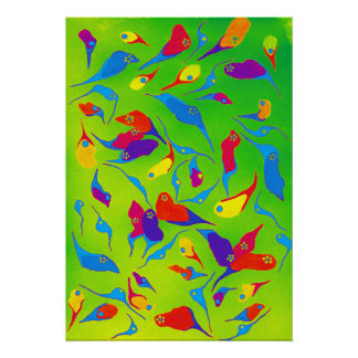 Minimalismus-Aquarell-helle Farbformen Poster
