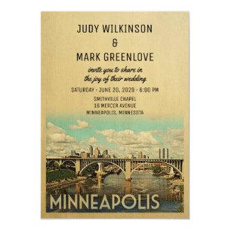 Minneapolis-Hochzeits-Einladungs-Vintage Mitte des Karte