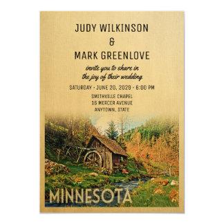Minnesota-Hochzeits-Einladungs-rustikale Karte