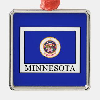 Minnesota Quadratisches Silberfarbenes Ornament