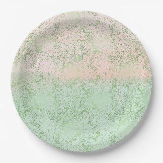 Minze erröten rosa Aquarellconfetti-Punkte Pappteller
