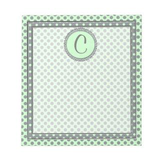 Minzen-Grün mit grauem Polka Punkt-Monogramm Notizblock