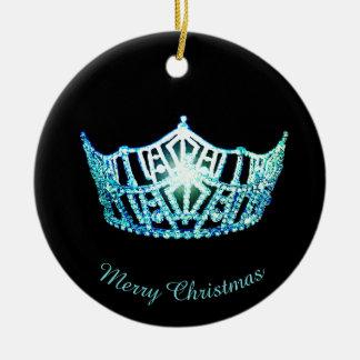 Miss Amerika-Aqua-Kronen-runde Verzierung Keramik Ornament