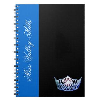Miss Amerika-Art blaues Kronen-Notizbuch Notizblock
