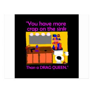 Mist auf Wannen-Dragqueenknopf Postkarte