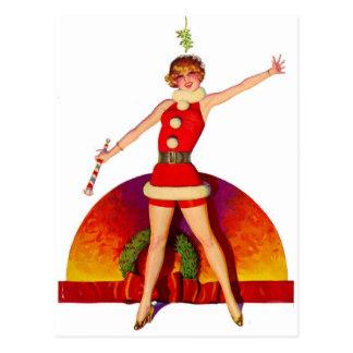 Mistelzweigpinup-Mädchen Postkarte