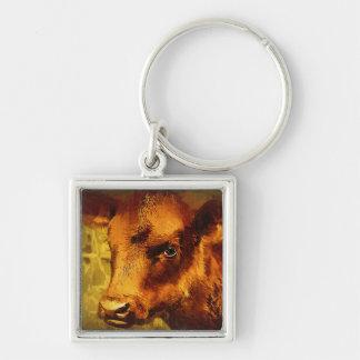 Mit Augen Mädchen Browns - Kuh-Öl-Malerei Schlüsselanhänger