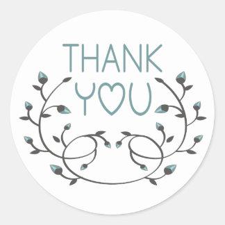 Mit Blumen danken Sie Ihnen blau und weißen Blumen Runder Aufkleber