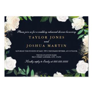 Mit Blumen erröten Marine, GoldProben-, 11,4 X 15,9 Cm Einladungskarte
