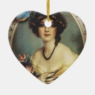 mit Blumenviktorianisches der retro Pariser Mode Keramik Ornament