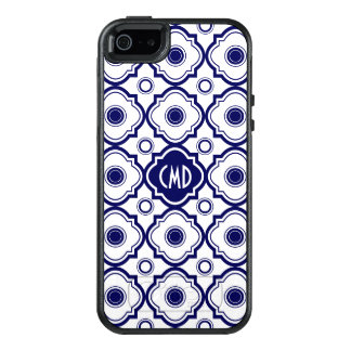 Mit Monogramm blaues und weißes Quatrefoil OtterBox iPhone 5/5s/SE Hülle