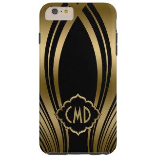 Mit Monogramm Gold und schwarze gewellte Streifen Tough iPhone 6 Plus Hülle