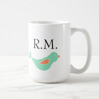 Mit Monogramm grüner Pastellvogel Tasse