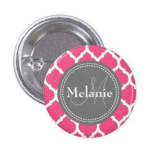 Mit Monogramm helles rosa u. graues Quatrefoil Runder Button 3,2 Cm