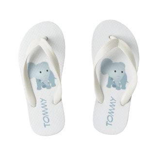 Mit Monogramm Imitat steppte blauen Elefanten Kinderbadesandalen