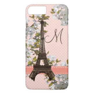 Mit Monogramm Kirschblüten-Eiffel-Turm iPhone 8 Plus/7 Plus Hülle