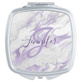 Mit Monogramm lila und weißer kompakter Taschenspiegel
