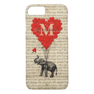 Mit Monogramm romantischer Elefant und Herz iPhone 7 Hülle
