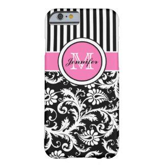 Mit Monogramm rosa, schwarzer, weißer gestreifter Barely There iPhone 6 Hülle