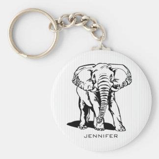 Mit Monogramm schwarzer Elefant Schlüsselanhänger