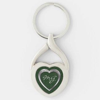 Mit Monogramm silbernes Herz auf Grün - Silberfarbener Herz Schlüsselanhänger
