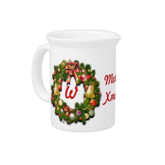 Mit Monogramm WeihnachtsWreath Getränke Krug