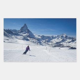 Mit Mt. Matterhorn in Zermatt Ski fahren, die Rechteckiger Aufkleber