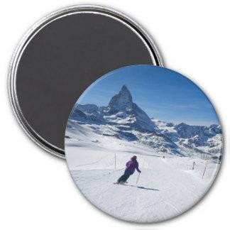 Mit Mt. Matterhorn in Zermatt Ski fahren, die Runder Magnet 7,6 Cm