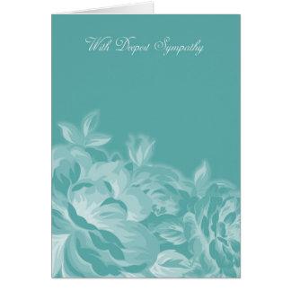 Mit tiefstem Beileid in blauem und weißem Blumen Karte