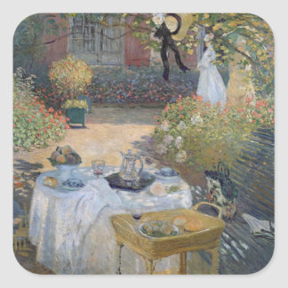 Mittagessen Claude Monets |: Monets Garten Quadratischer Aufkleber