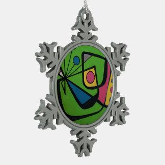 """""""Mitte des Jahrhunderts modernes abstraktes Schneeflocken Zinn-Ornament"""