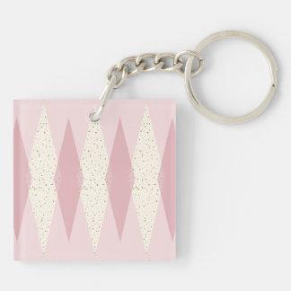 Mitte- des Jahrhundertsmoderne rosa Raute Keychain Schlüsselanhänger