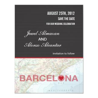 Mitteilung Barcelonas Spanien Save the Date 10,8 X 14 Cm Einladungskarte