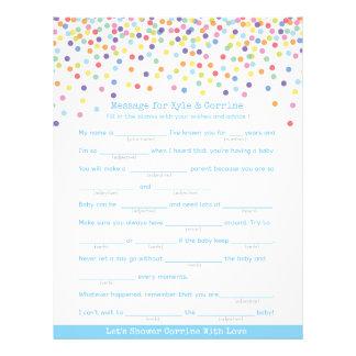 Mitteilung, damit die Eltern Confetti-Babyparty Flyer
