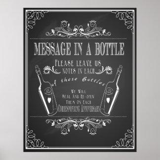 """""""Mitteilung in einer Flasche"""" Hochzeits-Gastbuch Poster"""