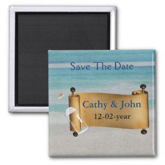 Mitteilung in einer Flasche Strand-Hochzeit Quadratischer Magnet