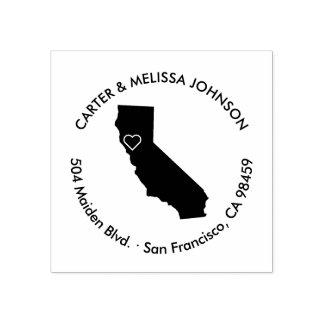 Mitteilungs-Adressen-Briefmarke Kaliforniens Gummistempel