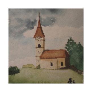 Mittelalterliche englische Kirchen-Wasserfarbe Leinwanddruck