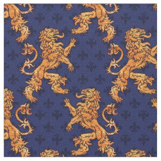 Mittelalterliche Goldlöwe-Blau-Lilie Stoff