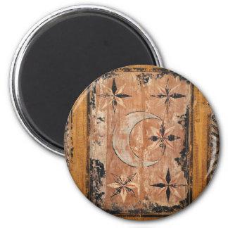mittelalterliche hölzerne Malereikunst Vintages Runder Magnet 5,1 Cm